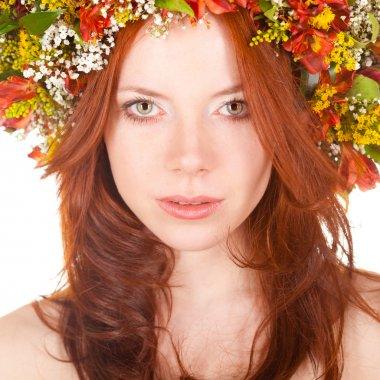Red haired woman closeup face portrait