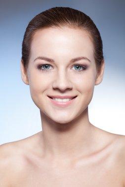 Closeup beautiful woman face