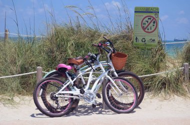 Bikes Parked at a Beach Access Point