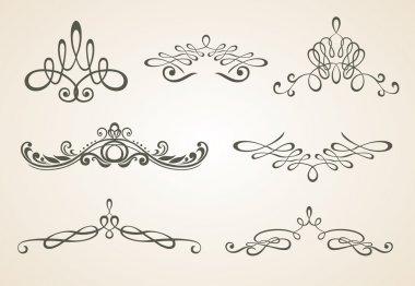 Vintage scrolls. Design elements and page decoration. Set.