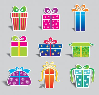 Set of colorful vector gift boxes stock vector