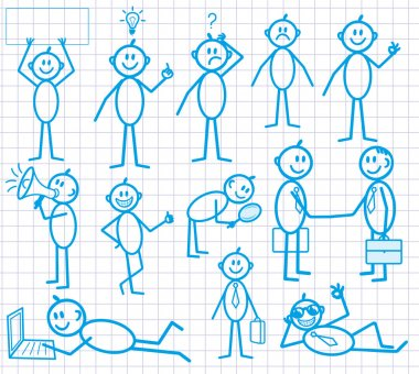 Set of funny cartoon little man with various emotion expressions. BUSINESS