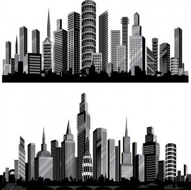 """Картина, постер, плакат, фотообои """"лучшие векторные силуэты города. набор ."""", артикул 8347325"""