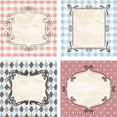 Vintage frames on the old fabric. Set.