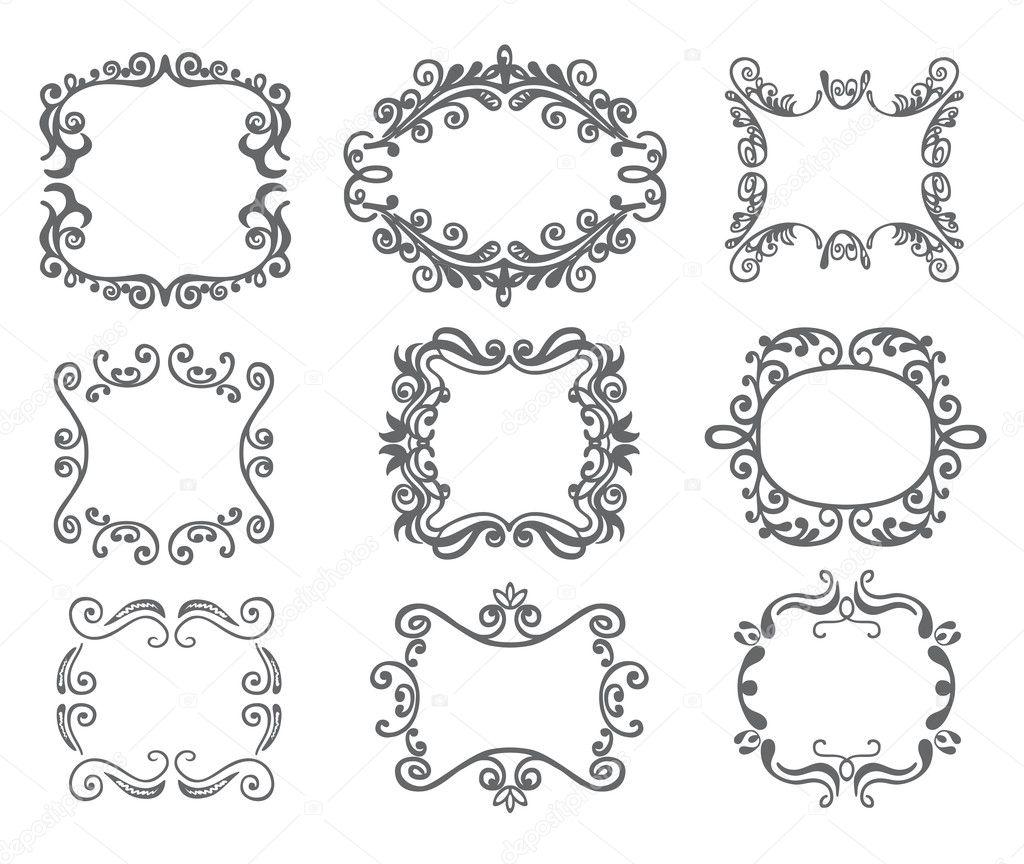 marco de vendimia. conjunto — Vector de stock © nuraschka #8346268