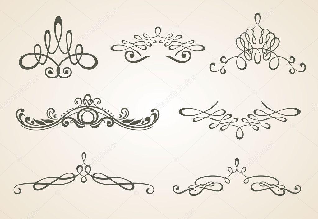 Antiguos pergaminos elementos de dise o y decoraci n de la p gina conjunto vector de stock - Elementos de decoracion ...