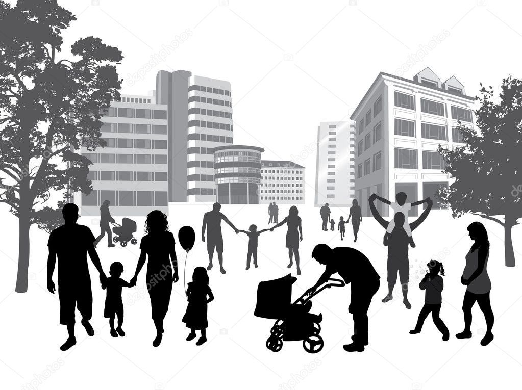 Families walking in the town. Lifestyle ,urban background.