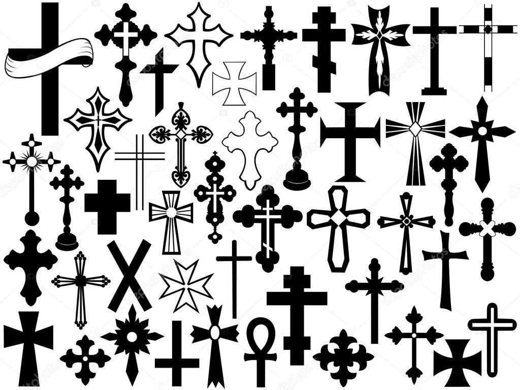 Cross set isolated on white stock vector