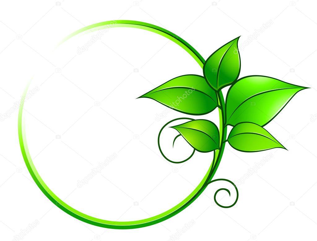 marco verde con hojas frescas — Archivo Imágenes Vectoriales ...