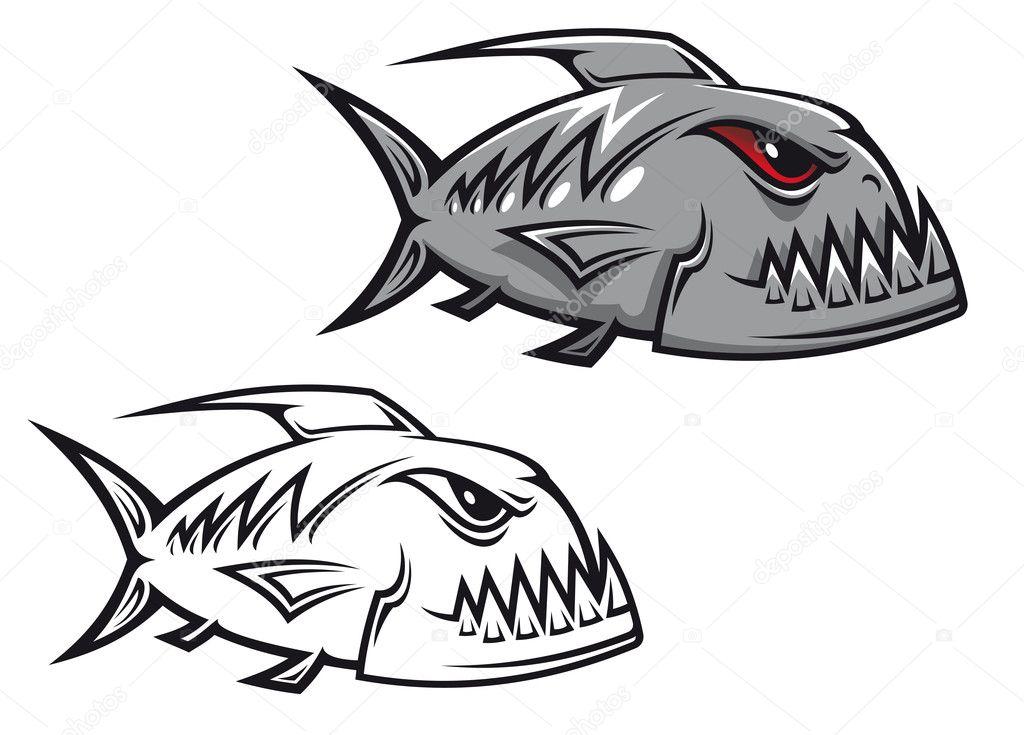 Piranha Skull Drawing