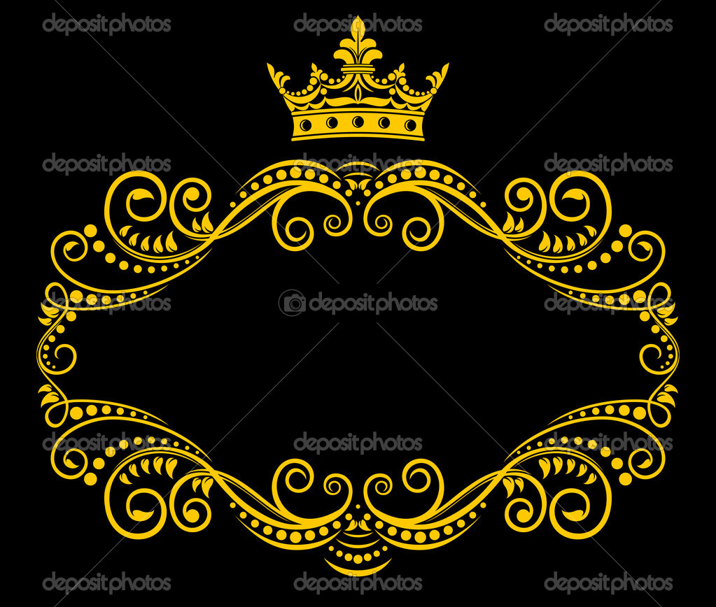 retro frame with royal crown stock vector 9335478