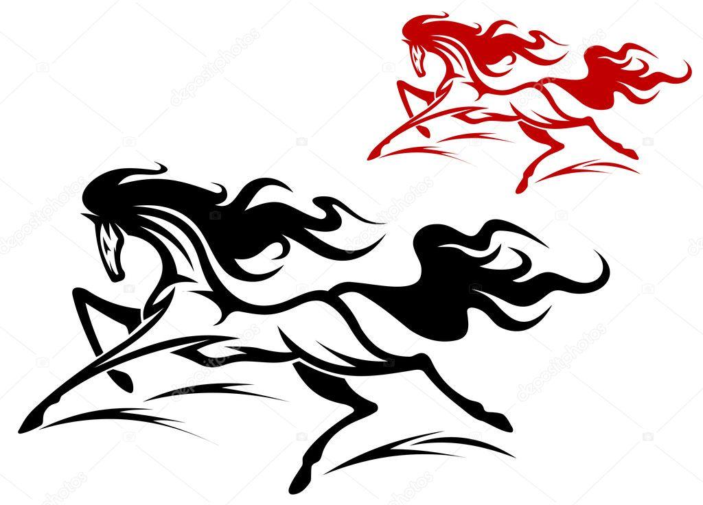 Running Symbols Tattoos Running Horse Tattoo Stock Vector C Seamartini 9818392
