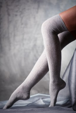 Beautiful woman legs in grey stockings