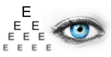 Eye test chart and blue human eye