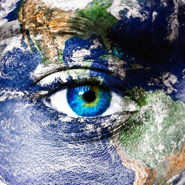 Planet earth and human eye