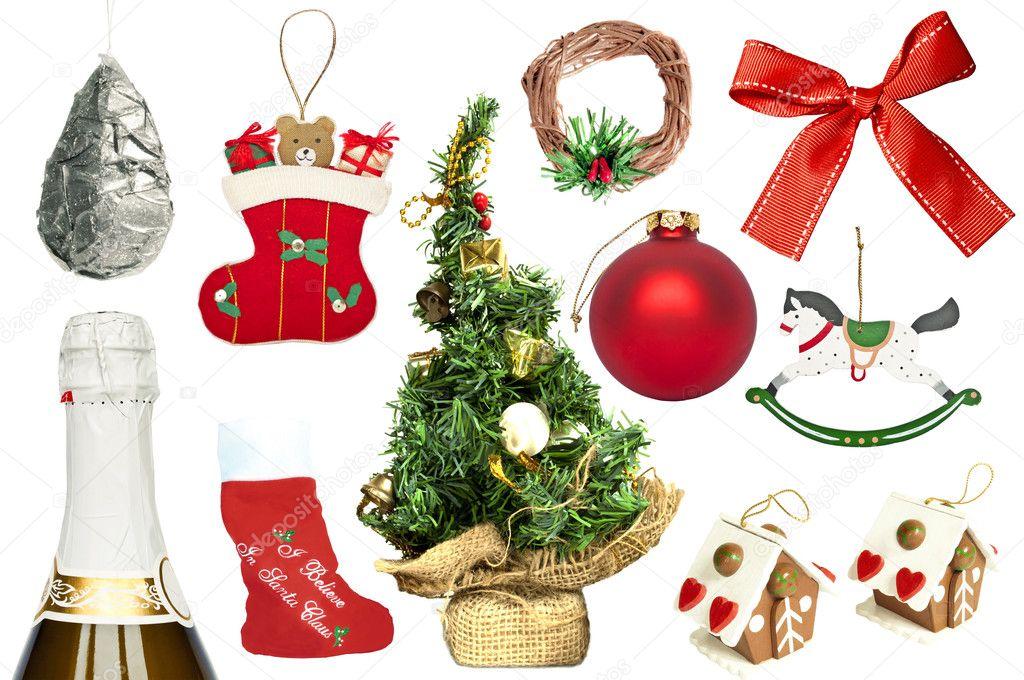 Conjunto de diversos adornos navide os y objetos fotos for Accesorios para decorar en navidad