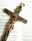 a nyitott Biblia a keresztre feszített Jézus Krisztus Cross