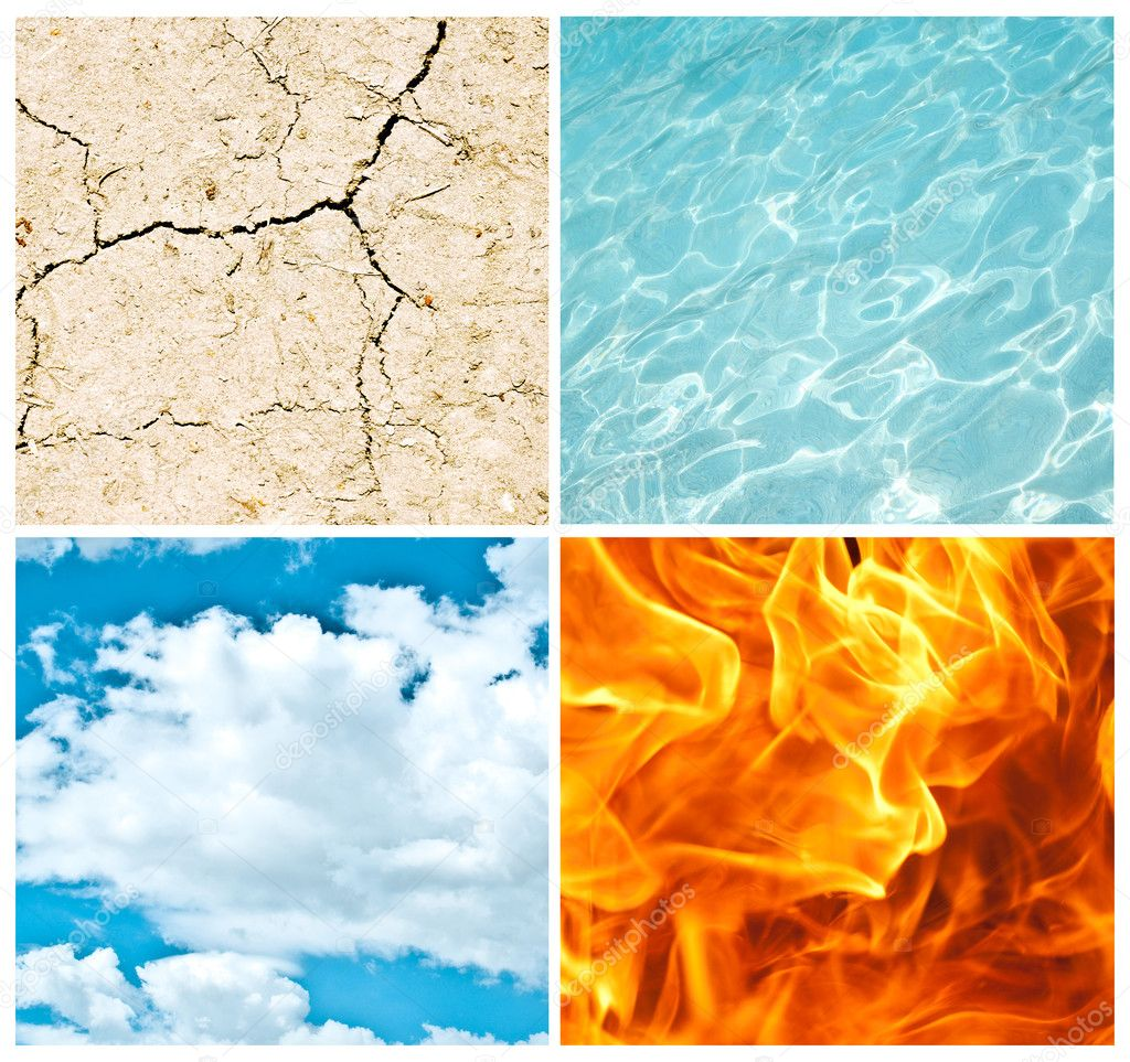 Four nature elements collage