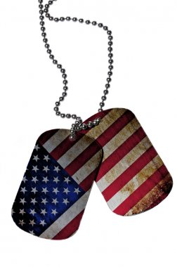 ID tags with USA flag