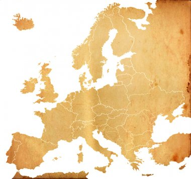 Grunge Europe map with old paper pattern isolated on white
