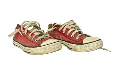 Old red sneakers
