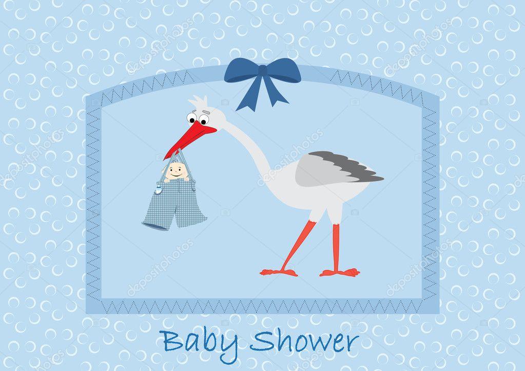 Boy Stork Baby Shower Invitation — Stock Vector © inxti74 #8760499