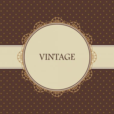 Brown vintage card, polka dot design clip art vector