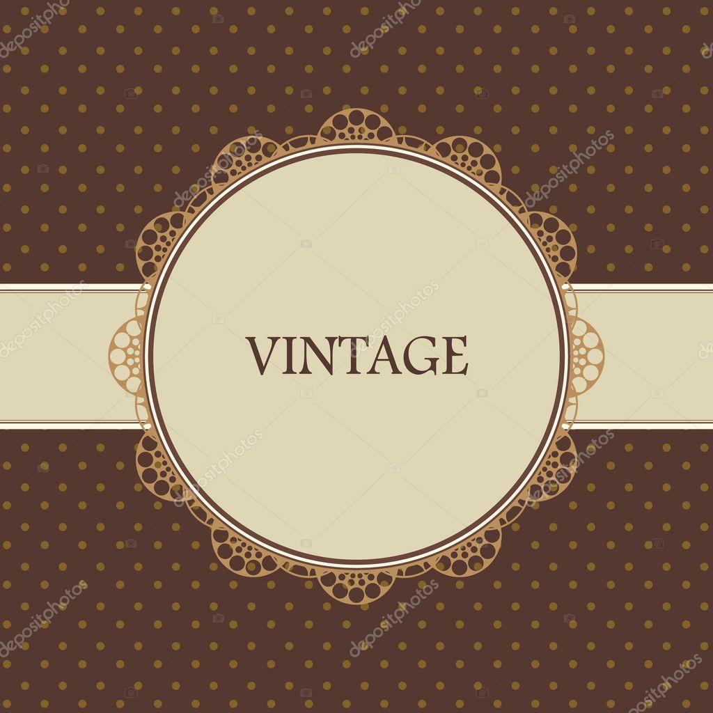 Brown vintage card, polka dot design