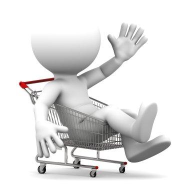 Man inside shopping cart
