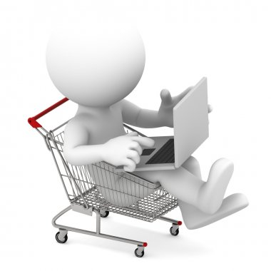 Man with laptop inside shopping cart. Online shopping concept