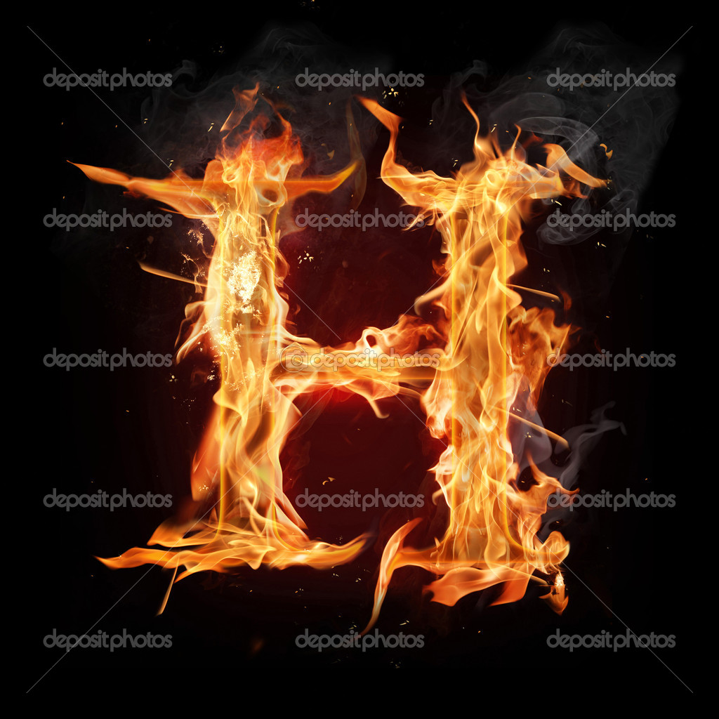 Letter h. fire and smoke alphabet over black background stock ...