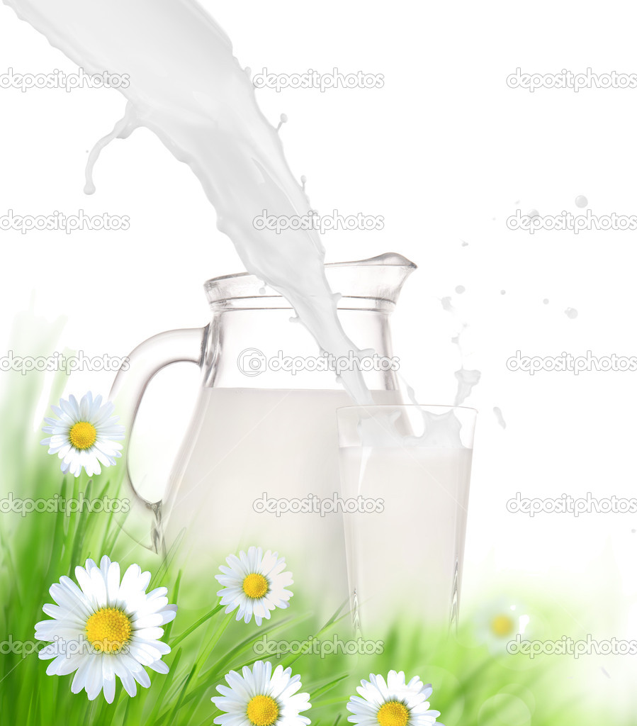 Milk jug and glass on the grass