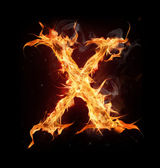 lettera di alfabeto fuoco x