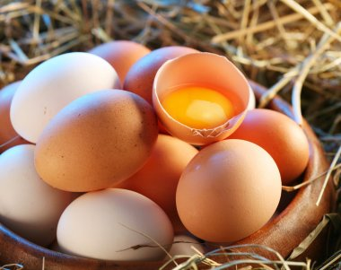 Chicken eggs in the straw. One egg is broken. stock vector