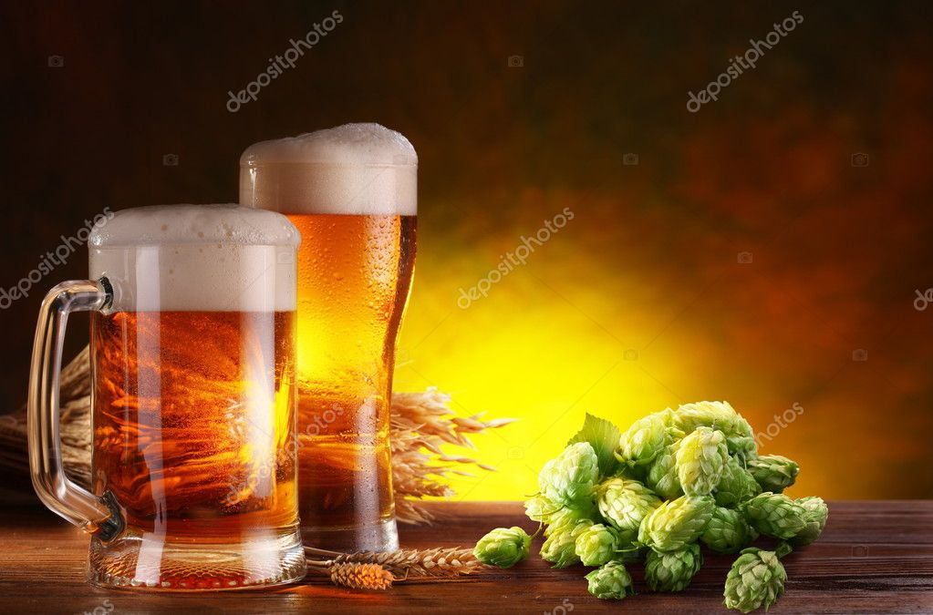 Beer and hops.