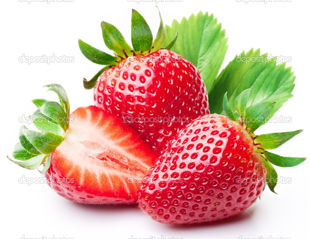 Strawberries with leaves.