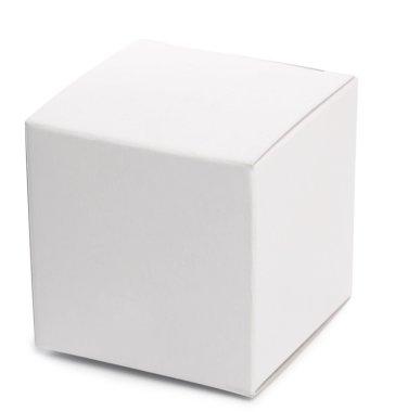 White box over white background.