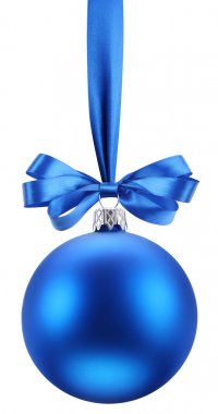 Christmas blue ball on the festive ribbon.
