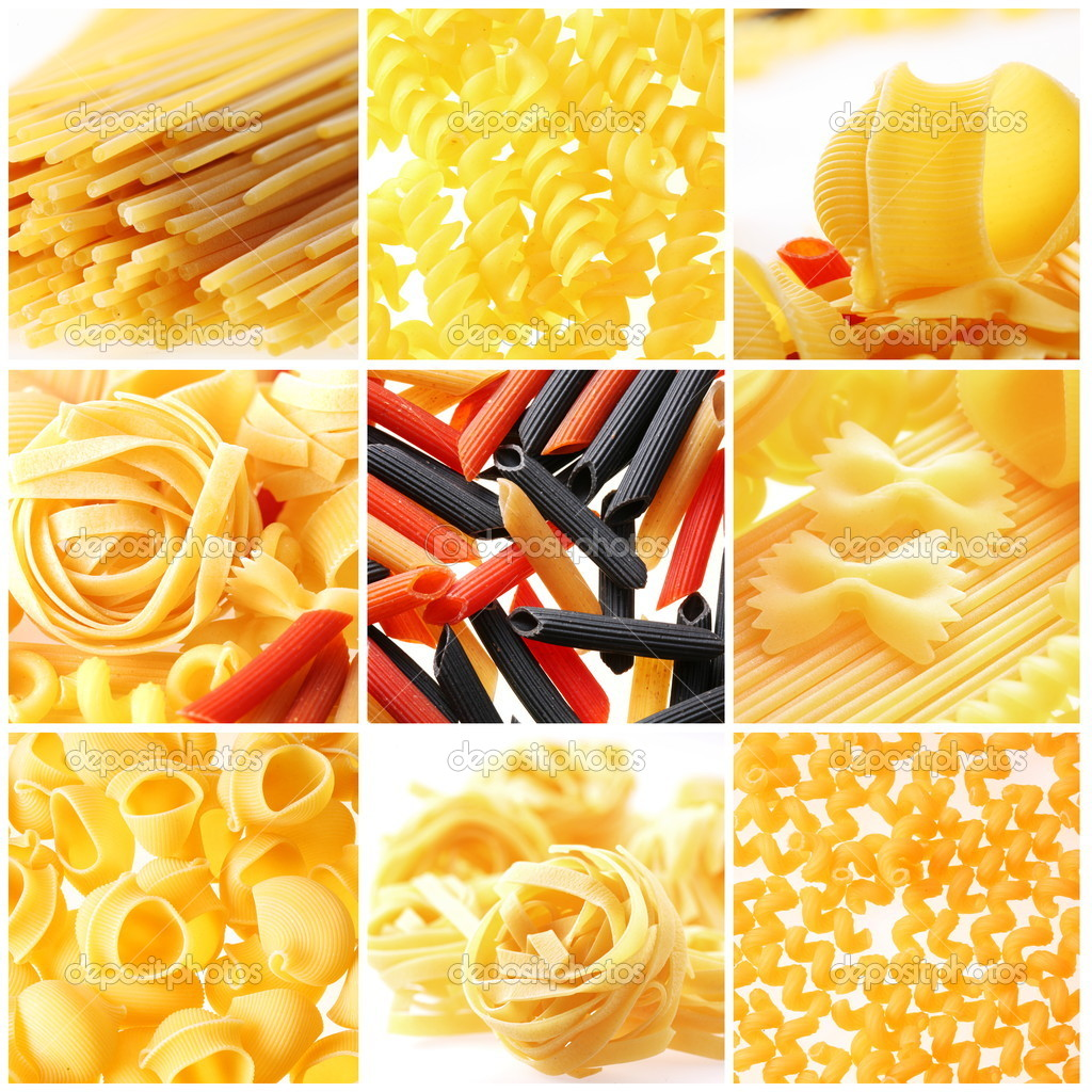 Photo of different kinds of italian pasta. Food collage.