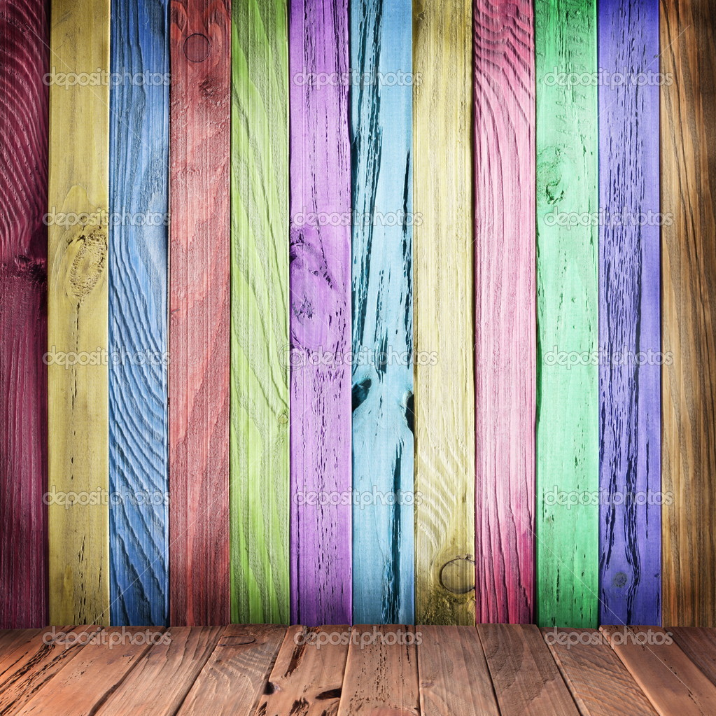 Multicolor wall of wooden planks.