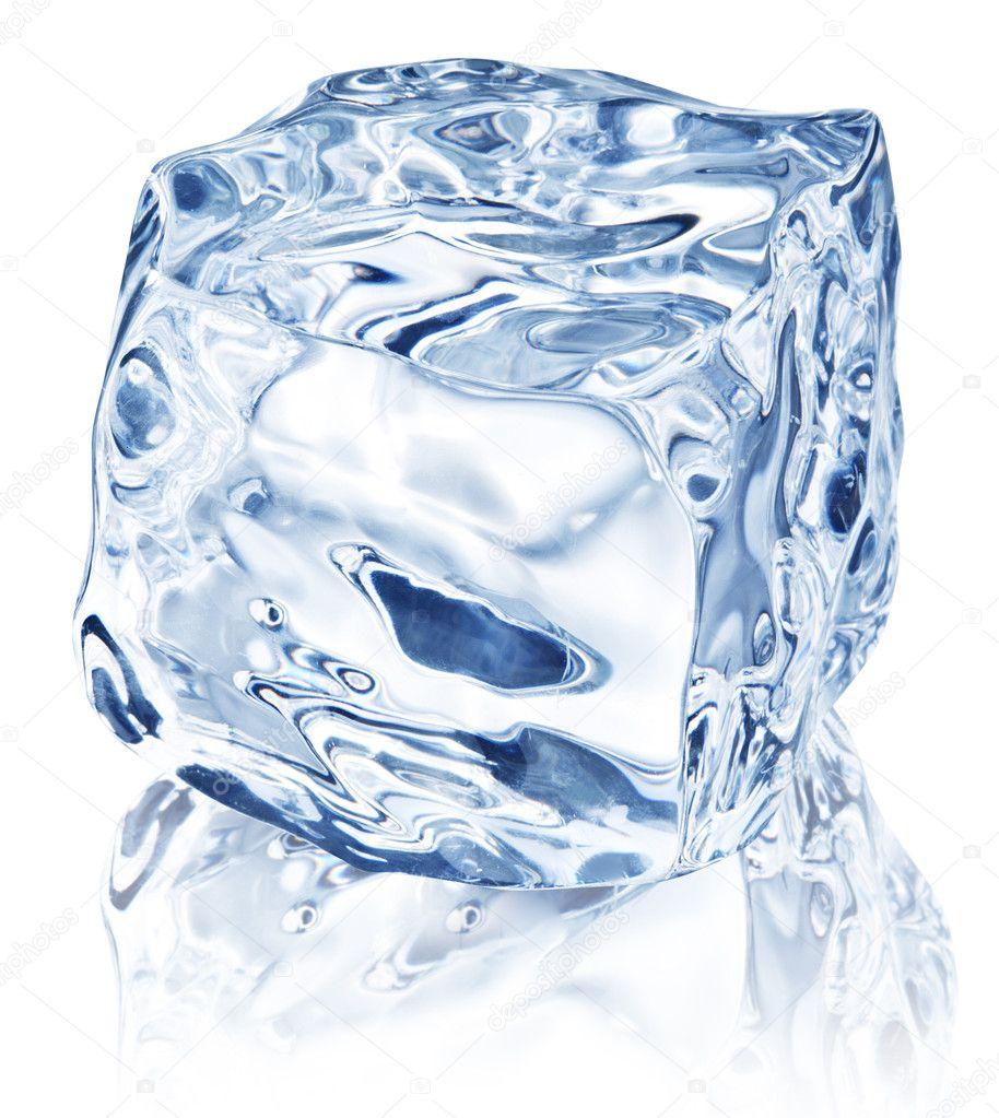 Ice cube on white background.