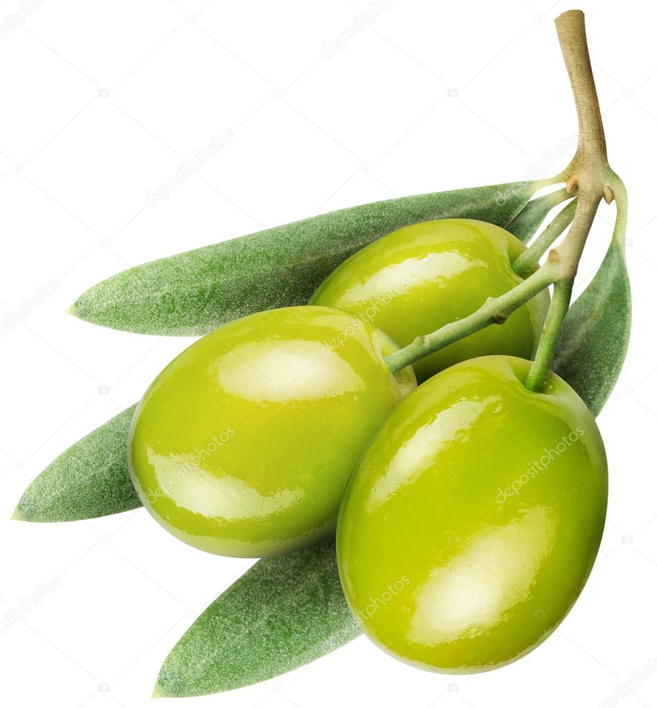 Olives with leaves on a white