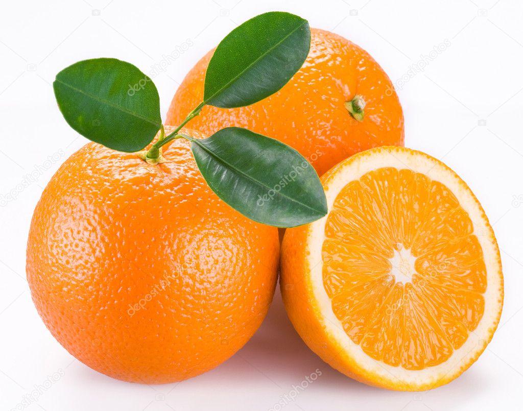 Orange fruits on a white background.