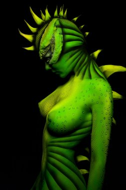 Woman-dragon bodyart