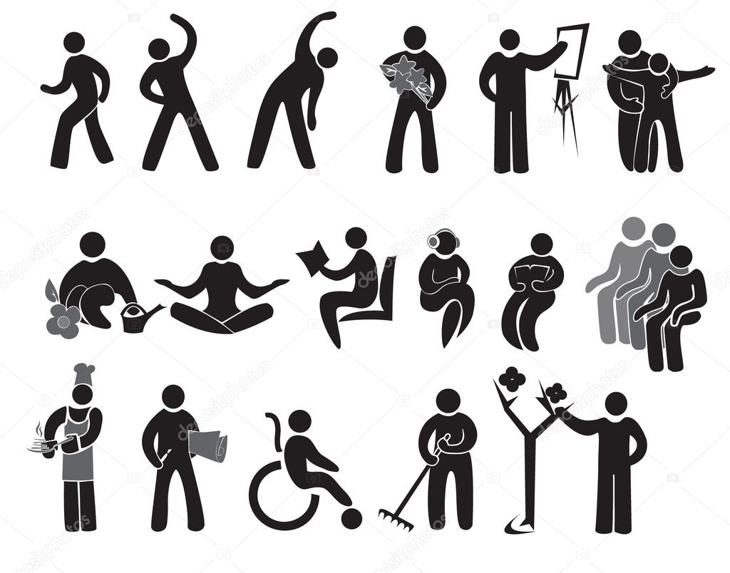 Icons of activities of after 65+ stock vector