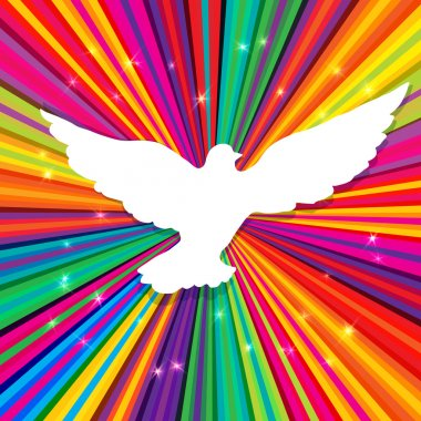 Dove silhouette on psychedelic colored abstract background. Vect