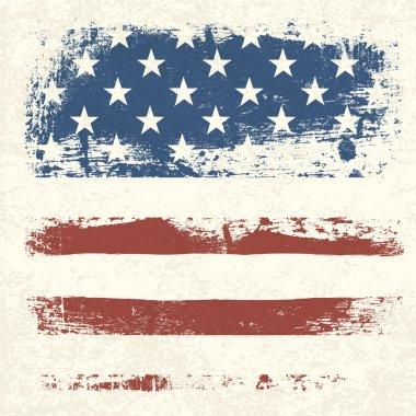 American flag vintage textured background. Vector, EPS10