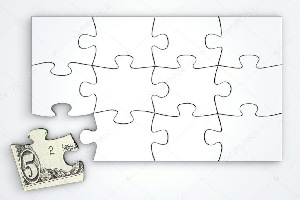 5 dollar note puzzle template top view stock photo pixbox