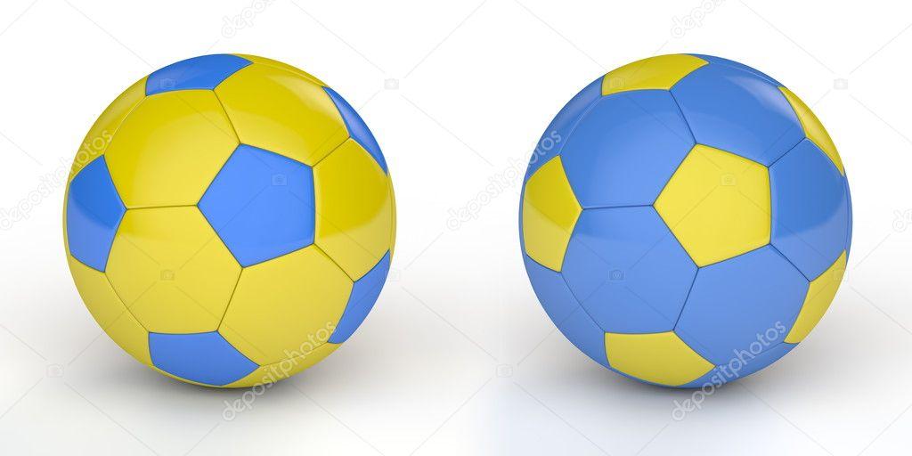Пара блискучі футбол   футбольні м ячі з українські кольори жовтий і синій  — Фото від PixBox. Знайти схожі зображення 4efb30f3d1f30