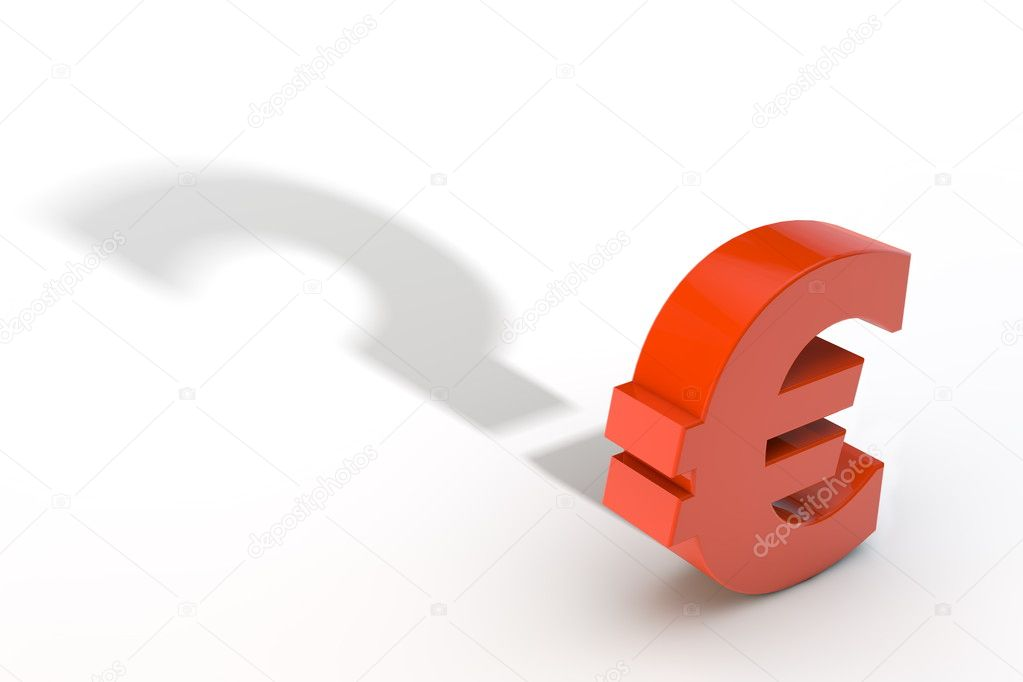 Red Euro Currency Symbol With Question Mark Shadow Stock Photo